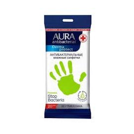 Aura Derma protect antibakteriális törlőkendő 20 db