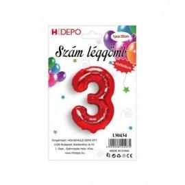 3 szám piros lufi