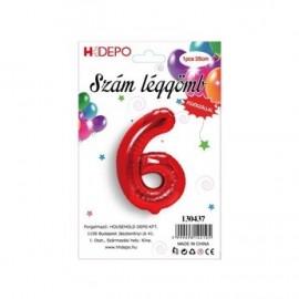 6 szám piros lufi