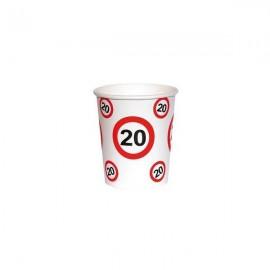 20. szülinapi sebességkorlátozó papír pohár 6 db