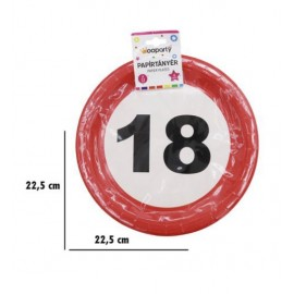 18-as Sebességkorlátozó Szülinapi Parti tányér 6db 23cm